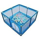 Babylaufstall mit 200 Bällen, Indoor Stable Kinder Kleinkind Kids Hochleistungszaun Blau 128 × 128 × 66cm