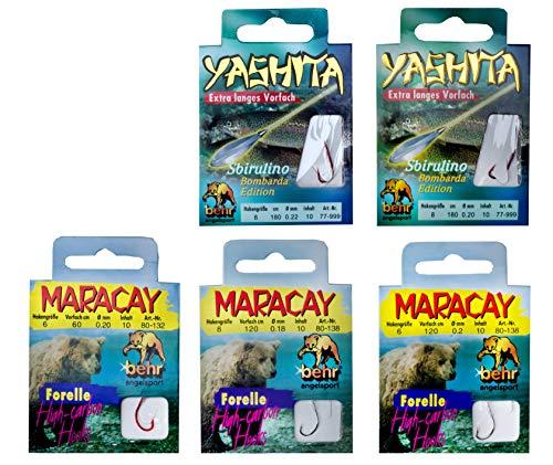 MiRoeFishing Angelhaken mit Vorfach Set 50St. Für Forellen besonders scharfe Fischhaken in verschiedenen Größen und Längen.