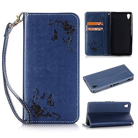 Lonchee Sony Xperia Z3 Wallet Tasche Brieftasche Schutzhülle , geprägten Design Hochwertige PU Leder Folio Tasche Case Hülle im Bookstyle mit Standfunktion Kredit Kartenfächer (tiefblau)
