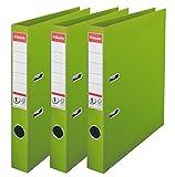 Esselte Lot de 3 Classeurs à Levier, pour l'Archivage, Couverture Plastique, A4, Dos 5,0cm, Vert, N°1 Power, 624279