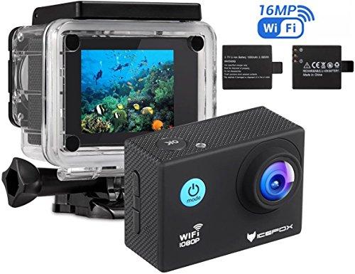 einwegunterwasserkamera Action Cam, icefox 2K 16MP Unterwasserkamera, WIFI Fernbedienung, 2.0 Display Helmkamera, Wasserdicht Sport Action Kamera mit 2 Akku und kostenloses Zubehör