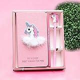 """Yangte Licorne Cahiers avec Un Stylo Licorne, Pink Plain Hand Book Planificateur Portable, 7 """"x3.9, Journal des Cadeaux pour Enfants Plus DE 80 Pages"""