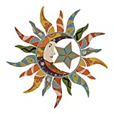 decalmile Sole Luna Viso Adesivi da Parete Removibile Vinile Stickers Murali Decorazioni Pareti per Soggiorno Studio Ufficio Camera da Letto