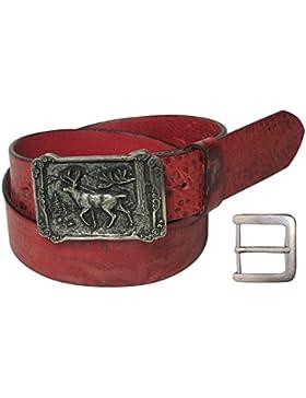 FRONHOFER Trachtengürtel, Hirsch Motiv, Gürtel Tracht Herren, Trachtengürtel braun, schwarz, rot, echt Leder,...