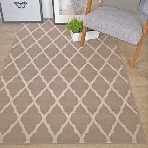 The Rug House Tapis Milan Confortable Gris, Brun Taupe, Motif Trellis géométrique Gris 160cm x 230cm