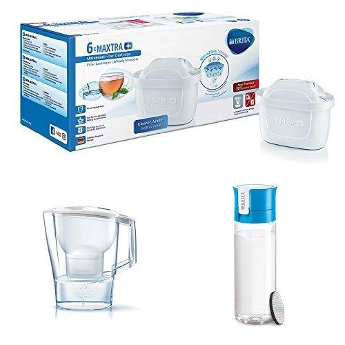 BRITA MAXTRA+ - Filtro de agua 100 l, pack de 6 meses + BRITA Aluna - Jarra de agua de 2,4 l con filtro MAXTRA+ + BRITA Fill&Go - Botella de agua de 0,6 l con filtro MICRODISC, color blanco