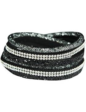 Mevina Damen Strass Armband Wickelarmband Glitzer Magnetverschluss Shamballa Glitzerarmband
