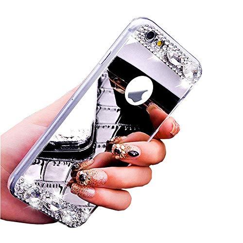 Kompatibel für Huawei P20 Lite Hülle Spiegel Schutzhülle,Bling Glitzer Strass Diamant Kristall TPU Silikon Hülle mit Ring 360 Grad Ständer Soft Silikon Handyhülle Tasche Case,Silber