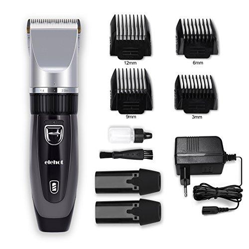 Elektrischer Haarschneider mit 4 Aufsätzen 2 Auswechselbare Batterien Haarschneidemaschine für Herren oder Friseur Salon Grau von Elehot