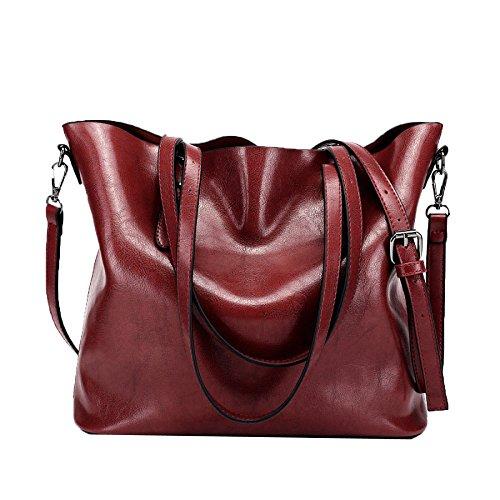 BAGBB Damenhandtaschen Kuh-Lederhandtaschen Herbst/Winter Schulter Messenger Bags (Farbe : Red, größe : M)