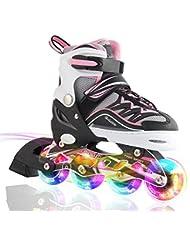 2pm Sports Ciro enfants rollers en ligne de la série Kuxuan, doté de roues LED illuminées, 4 raille réglable, light up inline skates pour les filles et les garçons