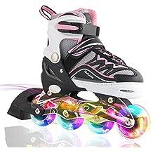 2pm Sports Ciro Patines en línea tamaño ajustable Ilumina LED ruedas para niño y niña - Rosa M