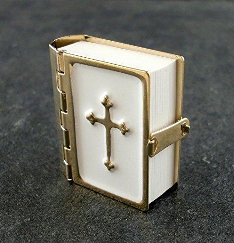 Puppenhaus Bibel Metall Bindung bedruckte Seiten 1:12 Miniatur Kirche Zubehör