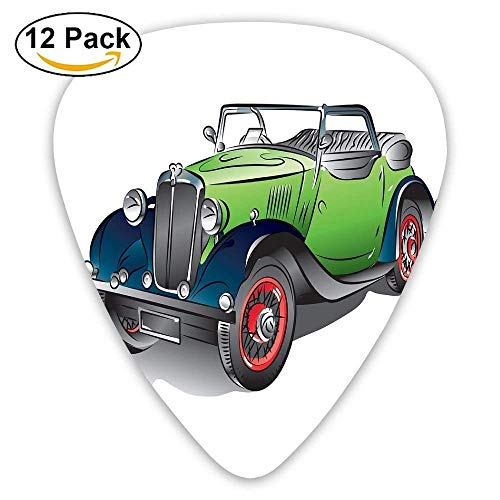 Hand Drawn Convertible Vintage Green Car With Colorful Rims Retro Vehicle Design Print Guitar Picks 12/Pack Multi Color Rim