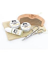 Mo Bro's Barbe Starter Toilette Kit Cire À Moustache, Barbe Baume, Huile, Peigne, Ciseaux & Cadeau Sac