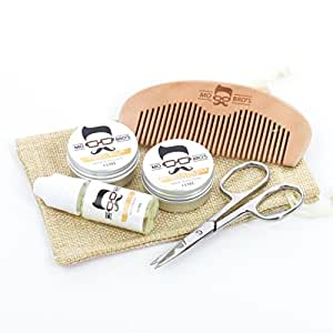 Mo Bro's Grooming Kit- Moustache Wax, Beard Balm, Oil, Comb, Scissors & Gift Bag (Vanilla & Mango)