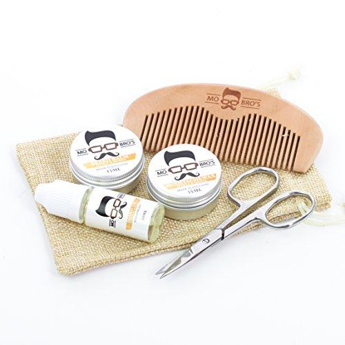 Mo Bro's Beard Starter Grooming Kit- Moustache Wax, Beard Balm, Oil, Comb, Scissors & Gift Bag (Vanilla & Mango)