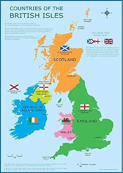 Cartina Gran Bretagna Bianco E Nero.Cartina Da Parete Per Bambini Con Mappa Della Gran Bretagna Regno Unito E Isole Britanniche Formato A3 30 Cm X 42 Cm Poster Istruttivo Per Bambini Amazon It Casa E Cucina