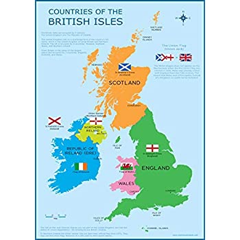 Map Of Uk With Countries.Wisdom Learning Great Britain Map Uk British Isles Childrens Wall Chart A3 30cm X 42cm Educational Childs Poster Art Print Wallchart