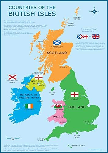 Wisdom Media  Großbritannien Karte-in Großbritannien Britischen Inseln Kinder Wand Diagramm Educational Kinder Poster Kunstdruck-Wandtafel -