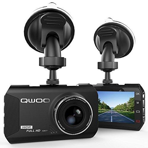 Caméra Embarquée 1080P Full HD 3.0'',Caméra de Voiture (Dash Cam) Qwoo Grand Angle 170°Enregistreurs Vidéo jusqu'à 24 heures en continue, Capteur-G (accéléromètre), Enregistrement en Boucle, Noir