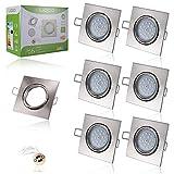 Liqoo® 6x 6W LED Focos GU10 Luz de Techo Blanco Natural Sustituye 40W Halógena AC 220V Con Marco Cuadrado Bajo Consumo 4000K