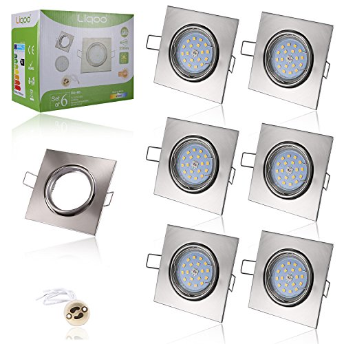 Liqoo® 6x 6W LED Focos GU10 Luz de Techo Blanco Natural Sustituye...
