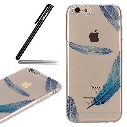 Ukayfe Custodia Morbido per iPhone 6/6S plus,2 in 1 Ultra Slim Casa per iPhone 6/6S plus Cover in Gel TPU Silicone Case Morbida Soft Trasparente e Cristallo Protettiva Custodia Brillantini Resistente  Piuma Blu