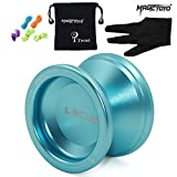 MAGICYOYO Responsive Beginners Yoyo Ball V6 LOCUS SPACE Aluminum Metal Yoyos Ball for Learner Kids with Bag Glove 5 Strings Blue