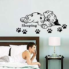 Idea Regalo - ufengke Cartone Animato Cucciolo Carino Sonno Stampe Zampa Del Cane Adesivi Murali, Camera dei Bambini Vivai Adesivi da Parete Removibili/Stickers Murali/Decorazione Murale