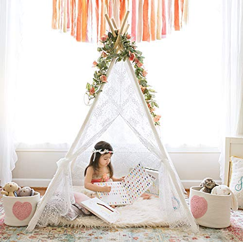 Teepee Tent for Girls, Sheer Lace Indoor and Outdoor Kids Canopy and Creative Play Space | Playroom Decor | Bohemian Theme Lace