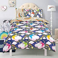 Todd Linens Kids 2 in 1 Reversible Quilt Duvet Cover and Pillowcase Bedding Bed Set Polycotton New colourful Designs (Unicorn