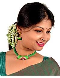 Nisuj Fashion's Green Terracotta Jewellery Set Metallic/Glossy Finish  Bead Necklace Set For Women & Girls