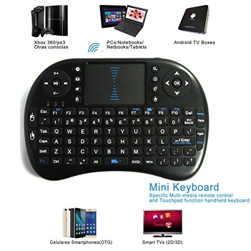 i8 Mini Teclado Inalámbrico con Táctilpad para Tablet PC,Android TV,X box,PSP (Negro)