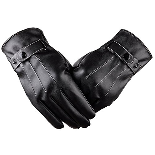 Genfien Winter Kunstleder Touchscreen Lederhandschuhe Herren Gefüttert Gloves Herren Leder Handschuhe für Motorrad