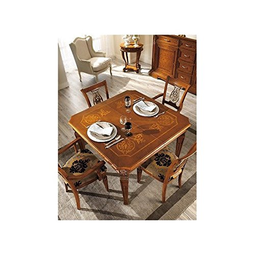 Tavolo quadrato allungabile legno massello intarsiato produzione veneta - come foto