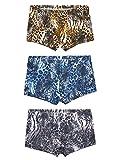 3 Stücke Herren Sexy Low Rise Ice Silk Retroshorts Trunks Unterwäsche Dünn Atmungsaktiv - Tiger Pattern Größe L