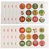 Noël Calendrier De L'Avent Autocollants Étiquette Decor 1-24 Autocollants Avec Numéro Cookies De Noël Candy D'étanchéité Autocollant DIY Cadeaux