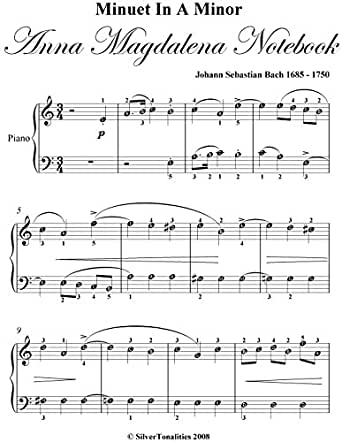 Minuet In A Minor Anna Magdalena Notebook Easy Piano Sheet