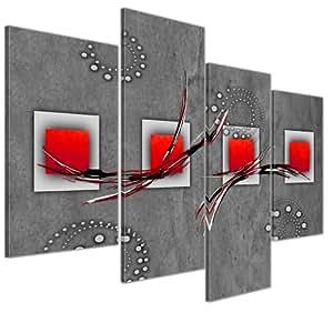 Bilderdepot24 toile d co imprim e art abstrait ii rouge for Decoration murale cuisine moderne