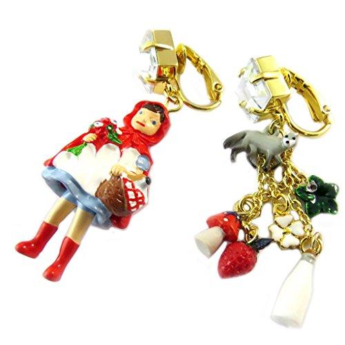 Pendientes clips caseros 'Monde Merveilleux'(caperucita roja)de oro rojo - 50x18 mm.