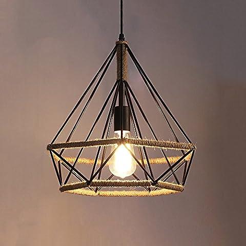 GIlight Rétro chandelier créatif en chanvre, fer forgé, Vents industriels(Birdcage) loft Bar Restaurant salon lampe suspension décorative, plafonnier noir ( Size : L- 38*41cm )