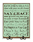 Stupell Home Décor Turquoise Kitchen Rules Typography Two Metal Hooks Wall Plaque, 10 x 1 x 15, Proudly Made in USA