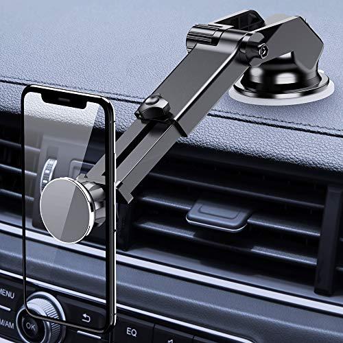 FLOVEME Handyhalterung fürs Auto, 2 in 1 Magnet Universal Autohandyhalter Saugnapf für Armaturenbrett & Windschutzscheibe, 360° KFZ Smartphone Halterung Mit Teleskoparm für iPhone Samsung Huawei usw.
