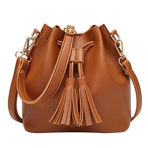Donna Borsa Elegante,Kword Moda Donna In Pelle Nappe Borsa Crossbody Spalla Messenger Benna Bag Marrone