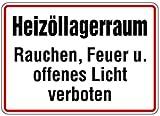 Aufkleber Heizöllagerraum Rauchen, Feuer u. offenes Licht verboten! 200x300mm