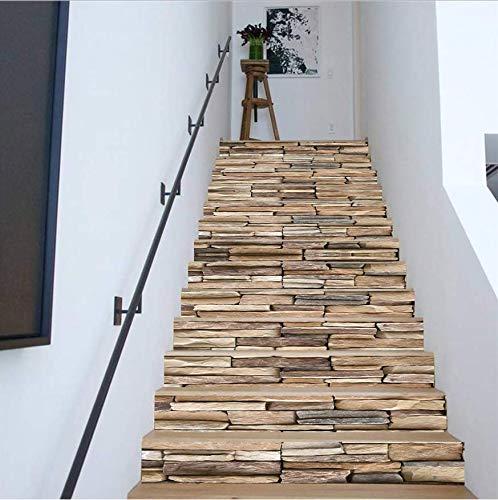LIZHIOO Treppenaufkleber Treppenhaus Aufkleber Stein Muster Abnehmbare Schritte DIY 3D Treppen Aufkleber Boden Wanddekor Aufkleber Aufkleber Dekoration (100cm*18cm) 6pcs -