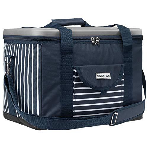 anndora Kühltasche XL blau weiß gestreift 40 L - Kühlbox Isoliertasche Picknicktasche