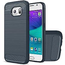 Funda Galaxy S6, HICASER Durabilidad Flexible TPU Case, Carbon Fiber Antideslizante Gota Protección Rugged Armor Defensivo Carcasa para Samsung Galaxy S6 Azul marino