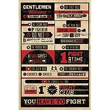 Póster 'Reglas del Club de la lucha, en inglés, Infografía', Tamaño: 91 x 61 cm